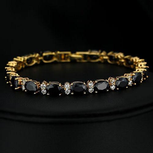 princess Round Cut Black Agate  AAA+ Cubic Zirconia  7  Tennis Bracelet Tennis Bracelet in 18K Gold Plated TLS68<br><br>Aliexpress