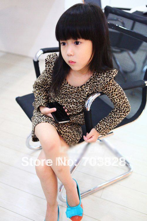 long sleeve leopard children's dresses baby girls princess spring & autunm - Rainy's Online Mall store