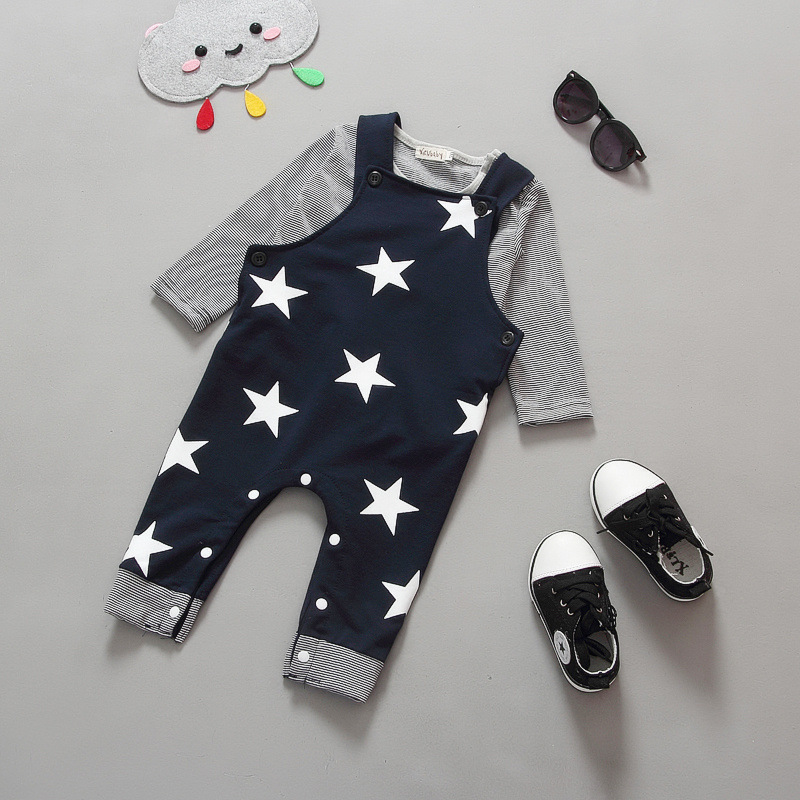 2pecs Baby Girls And Boys Suits Clothes Long Sleeves Unisex Baby Stars Printed Fashion Kids Clothing 4-24 Months Kid Girl Cloth(China (Mainland))