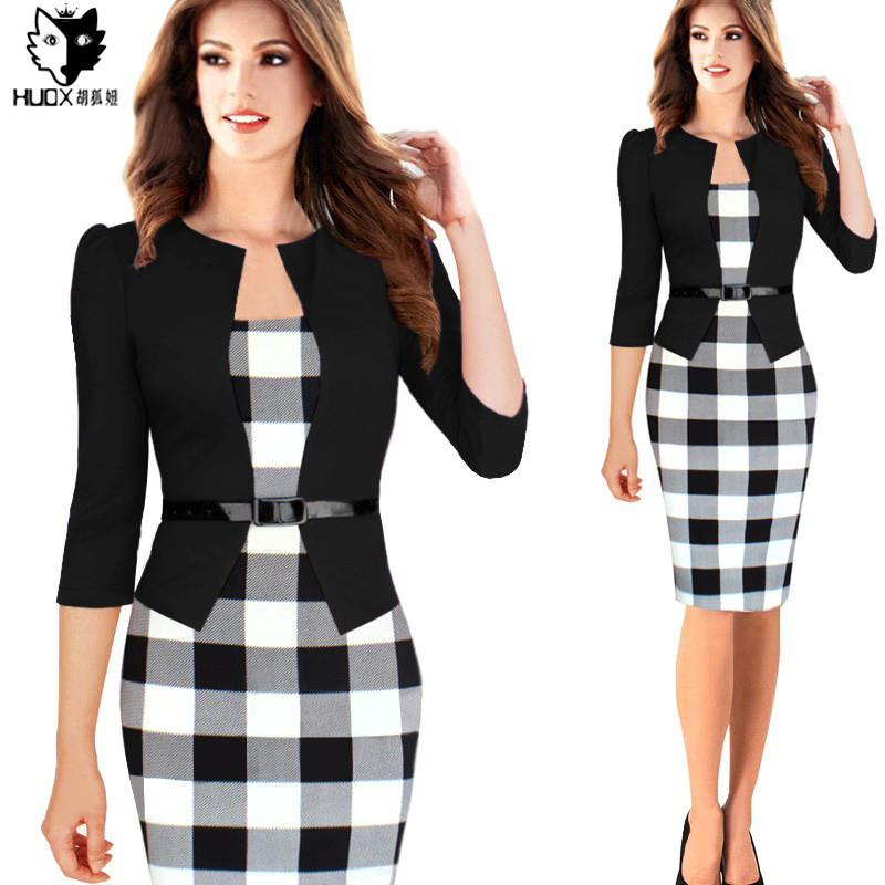 HUOX 2016 Autumn Women Faux Two Pieces Patchwork Bodycon Dress Elegant Plus Size font b Plaid