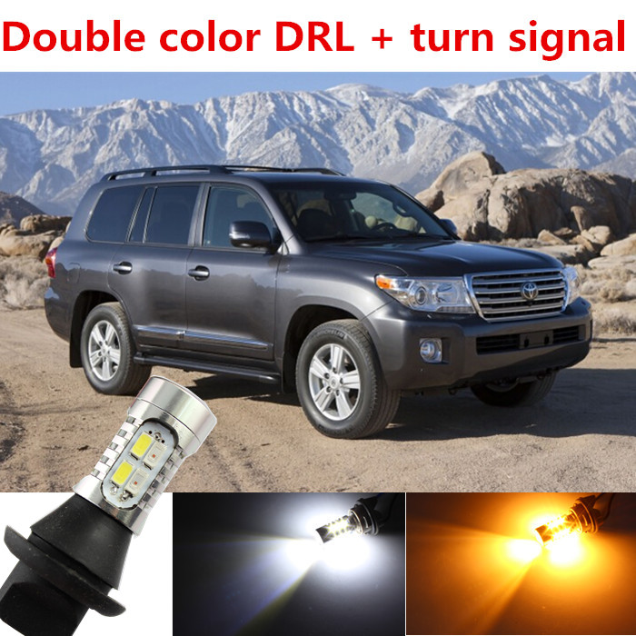 For toyota Land Cruiser accessories LED DRL Daytime Running Light &amp; Turn Signal Light Xenon White+Amber Free shipping<br><br>Aliexpress