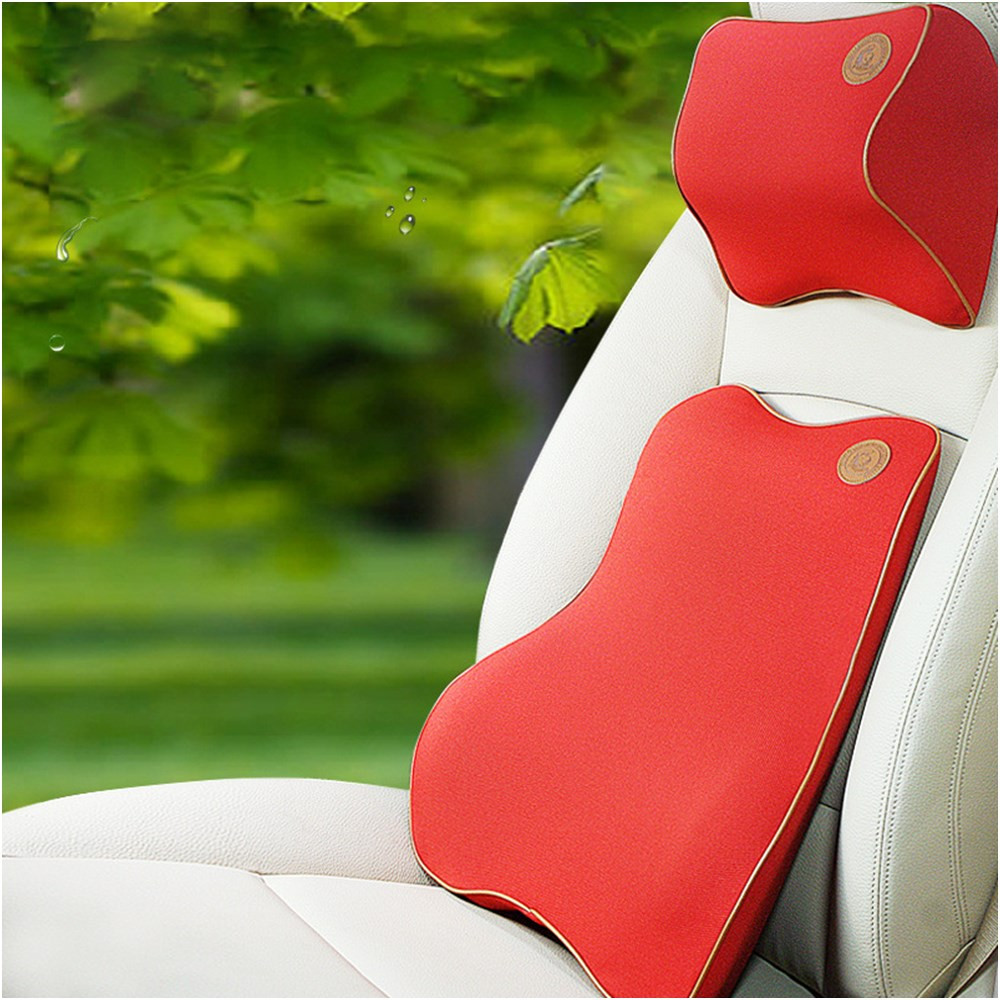 EE support New cheap 3d memory cotton auto car pillow + lumbar support lumbar cushion for car sales XY01
