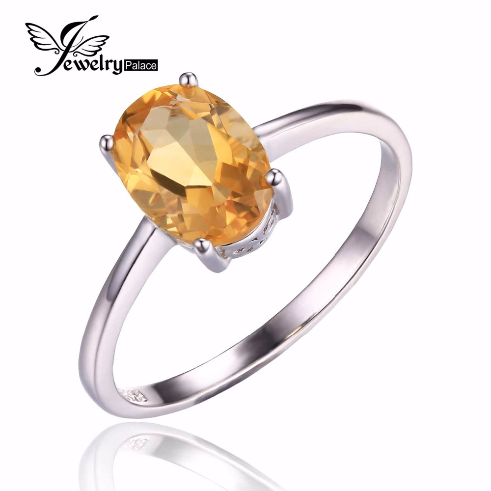 High Quality Genuine Yellow Citrine Engagement Rings Oval Cut Solid 925 Sterling Silver Women Gemstone Jewelry Ring Size 6 7 8 9(China (Mainland))