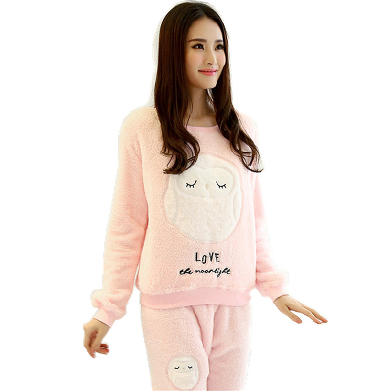 Winter New Thickened Cute Sleeping Owl Coral Fleece Pajamas Home Furnishing suit Home Wear Leisure Wear 9348Одежда и ак�е��уары<br><br><br>Aliexpress