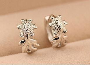 2016 new arrival fashion goldfish design 925 sterling silver female clip earrings jewelry