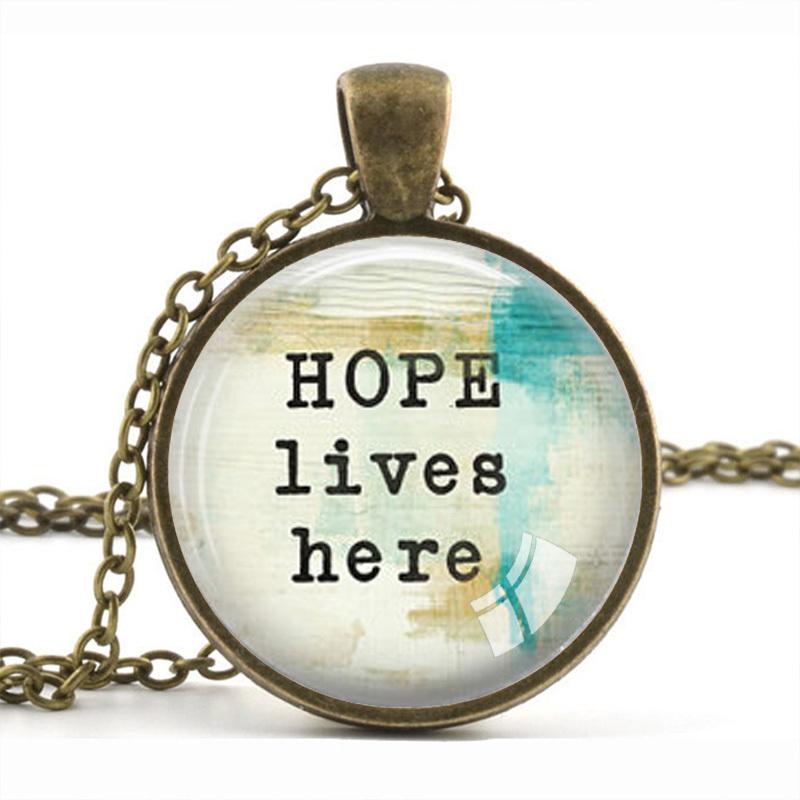 Hope Lives Here Inspirational Quote Pendant Necklace Glass Art Print Jewelry Inspiration Teacher Pendant Statement Pendant(China (Mainland))