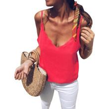 زائد حجم النساء بلون الصيف تانك الأعلى مثير V الرقبة عارية الذراعين قميص سترة الأزياء(China)
