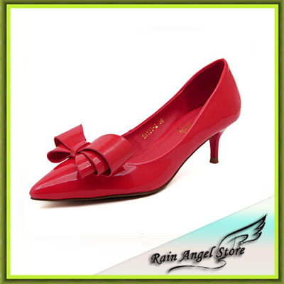 2015 Women Pumps New European And American Big Bow Women High Heel Shoes Wedding Shoes Red 5 Colors(China (Mainland))