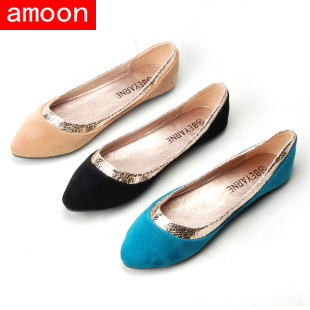 Amoon / Women Girl 2015 New Spring Summer Autumn Fashion Rubber Flock Patchwork Glitter Flat 108#65/ 3 Colors/ 7 Plus 41 Size - ^^ Flats and More store