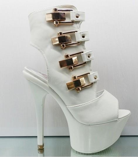 Single super high heels fish mouth shoes white Roman sandals women Europe hollow - jinxiu hu's store