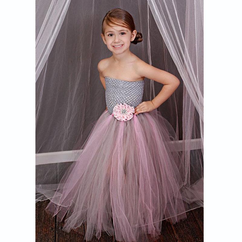Gray Mix Pink Children Girl Tulle Tutu Dress Handmade Flower Girl Tutu Dress Girl Bridesmaids Vestidos Ball Gown DT-1623(China (Mainland))