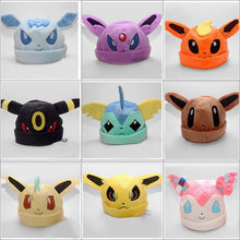 Leafeon cartoon halloween Anime Pokemon go ash ketchum Umbreon Soft Plush Toy Baseball Cap Warm Beanie Costume Hat Cosplay gift(China (Mainland))