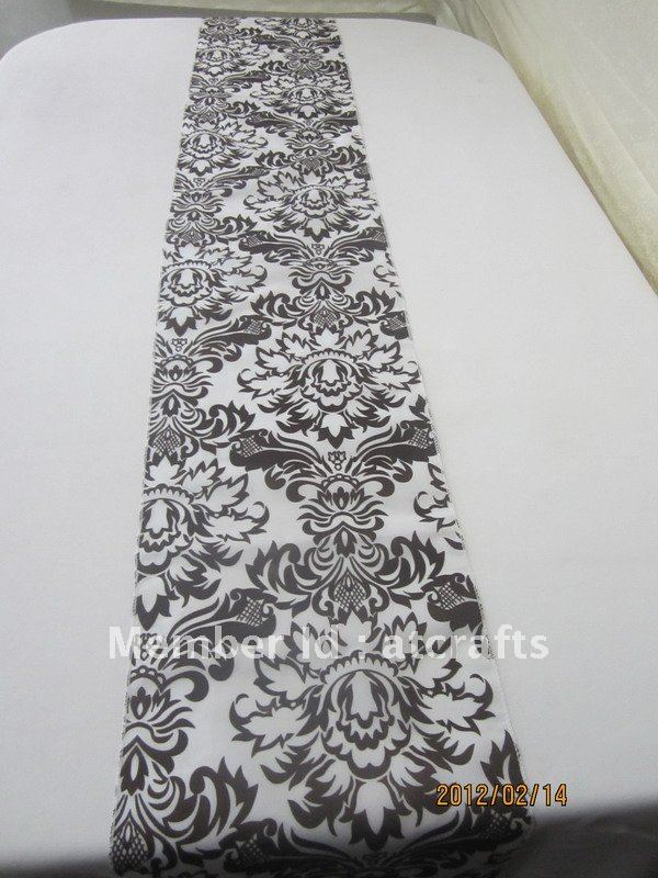 wholesale white and black wedding banquet damask flocking table runner, free shipping(China (Mainland))