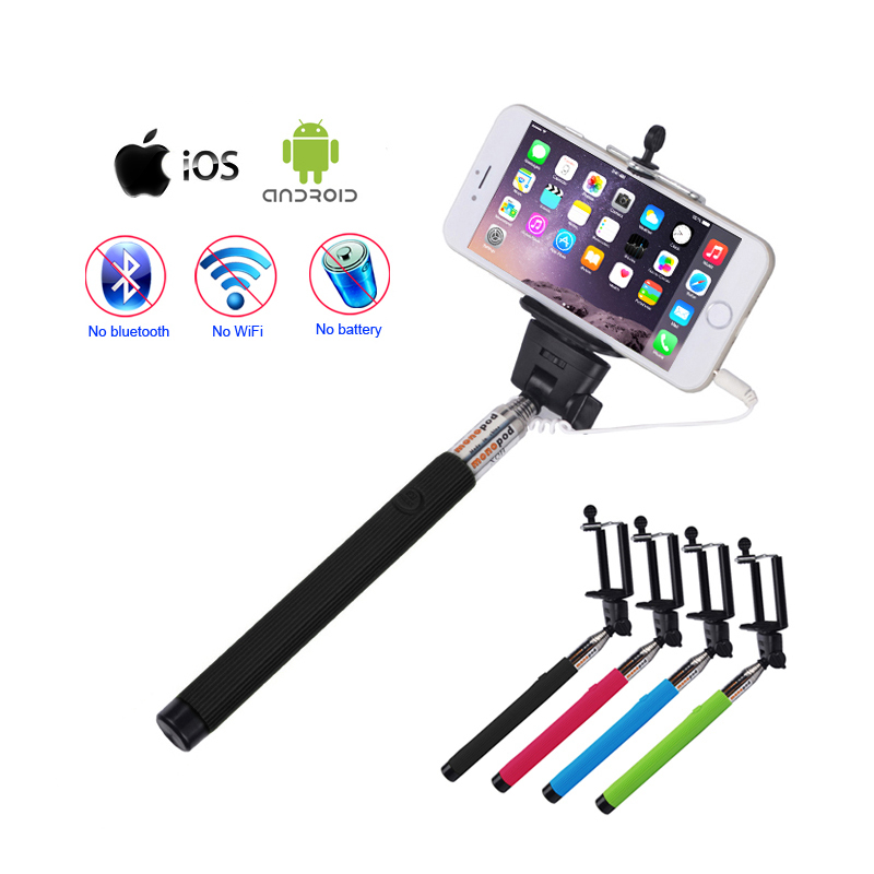 universal new wired selfie stick self stand photos extendable selfy monopod f. Black Bedroom Furniture Sets. Home Design Ideas