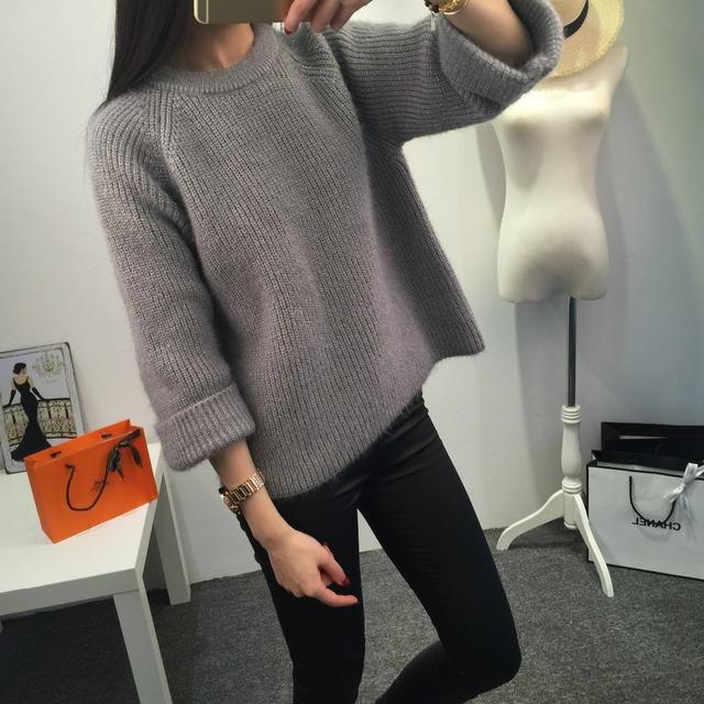 Женщин свитер 2015 зима новый бренд мода теплый пуловер высокое качество конфеты ...