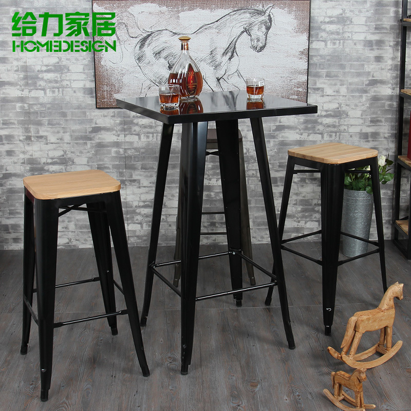 Buy iron fashion casual restaurant bar - Table bar industriel ...