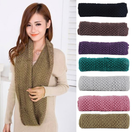 Women Girl Winter Warm Infinity Wrap 2 Circle Shawl Cable Knit Cowl Neck Long Scarf(China (Mainland))