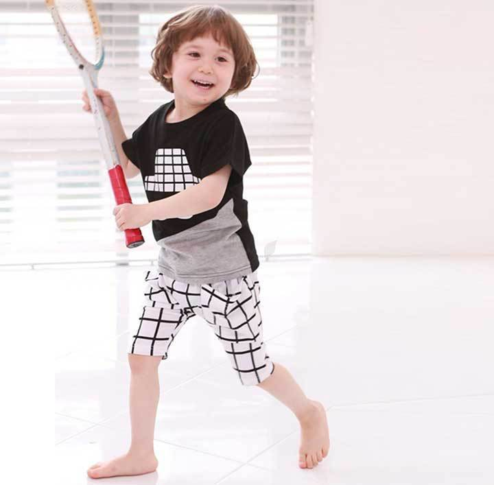 Wholesale 2015Summer fashion children's wear the new summer collection of short sleeve + plaid pants baby suit free Shipping(China (Mainland))