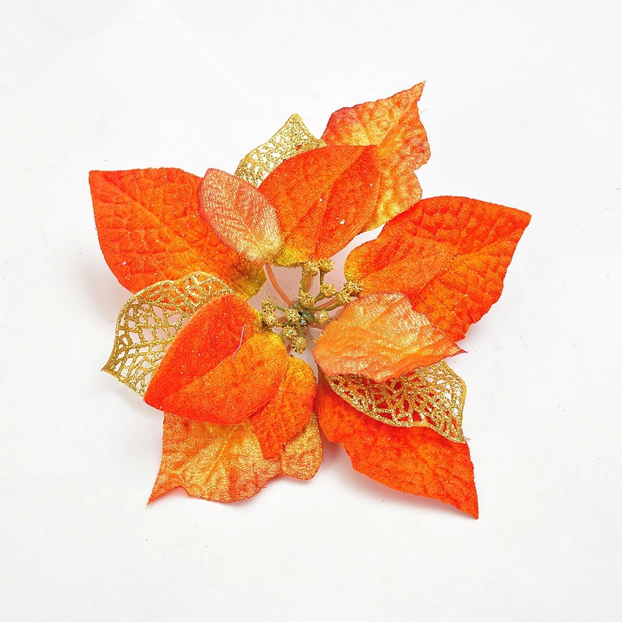2015 New Christmas Flower 20cm Three Layer Christmas Flowers Orange High Quality Christmas Tree Suppliers(China (Mainland))