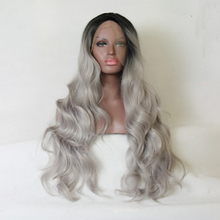 Fashion Ombre Silver Grey Bodywave Synthetic Lace Front Wig Glueless Long Natural Black/Gray Heat Resistant Hair Wigs For Women(China (Mainland))