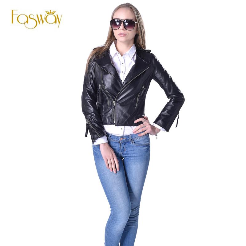 FASWAY Women Genuine Leather Jacket 100% Real Sheepskin Lambskin O-Neck Black Short Female Coat Spring Autumn Plus Size 5XL F046(China (Mainland))