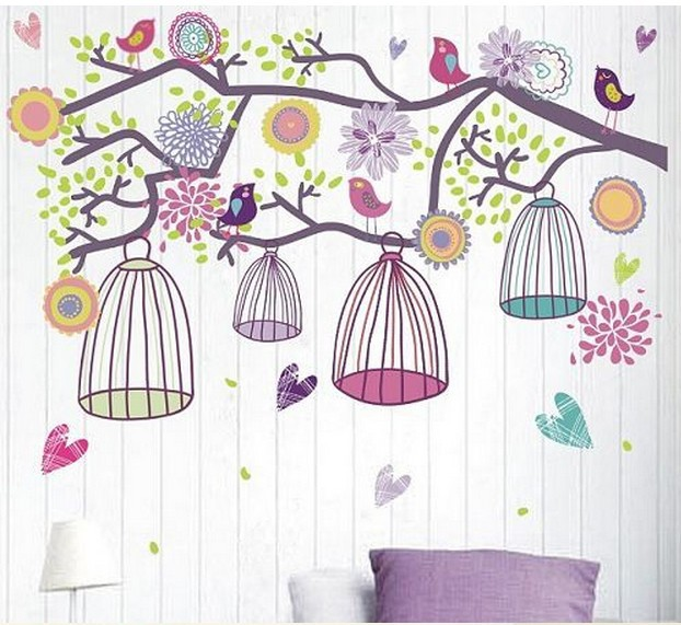 Colorful Birds Cage Kids Vinyl Wall Sticker For Kids Rooms Home Decor