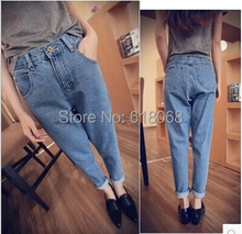 New korean Style Women's Denim Loose Harem Jeans Fashion High Waisted Cowboy Feet Pants Plus Size Loose Jeans Capris S/M/L/XL