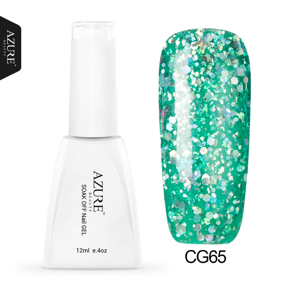 Azure Profeesional UV Diamond Glitter UV Gel Nail Polish Soak Off UV Nail Polish Green Color Gel Polish High Quality Gel(China (Mainland))