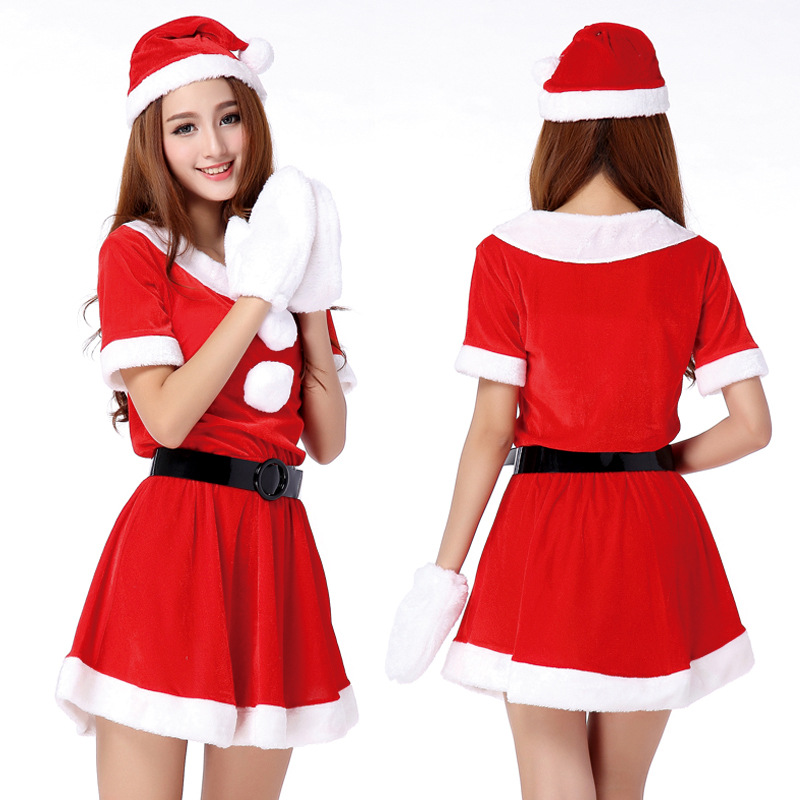Hot Sale 1 Set Sexy Women Santa Claus Christmas Costume Party Girls Outfit Fancy Dresses White Fluff Gloves Christmas Clothing(China (Mainland))