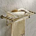 Creative Wall Mounted Single Towel Shelf Antique Brass Bathroom Bath Towel Rack with Towel Bar