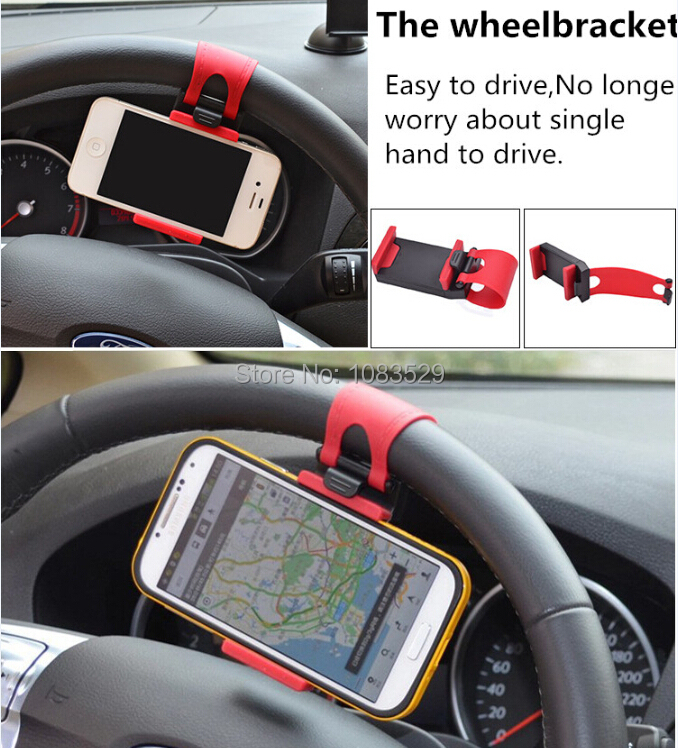 Universal Car Steering Wheel Mount Holder Stand Rubber Band iPhone 5 6 LG G2 g3 sony xperia z1 Z2 GPS Mobile Phone Holders - HK Billy Technology Co.,Ltd store