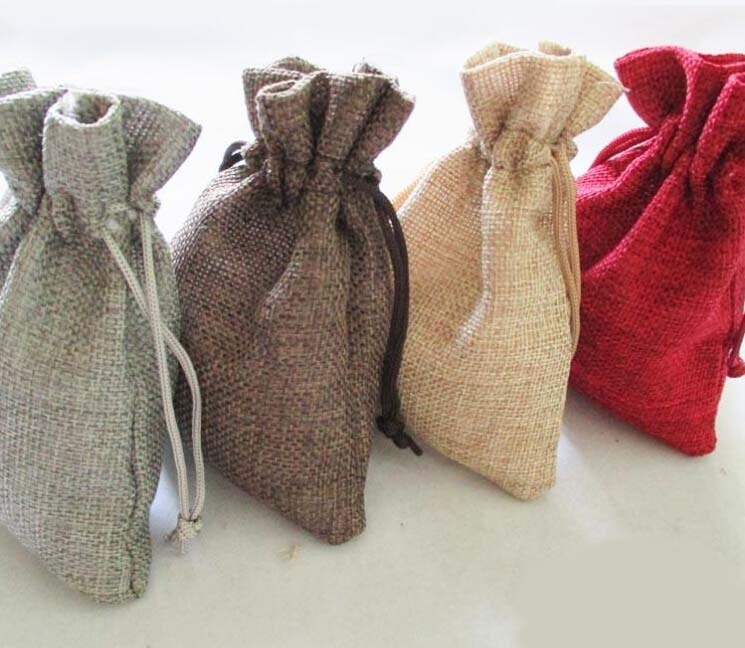 15 Colors pick 100pcs 10*14 cm Handmade Jute Drawstring burlap Gift Candy Beads Bags for Storage/ Wedding Decor/ Soap Package(China (Mainland))