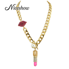 Punk Rock Statement Hyperbole Necklace Gold Color Chain with Hopink Enamel and Rhinestone Lipstick Necklaces & Pendants(China (Mainland))
