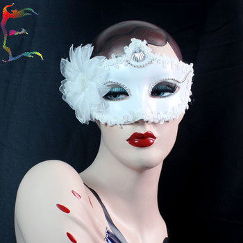 Wholesale 10pcs/lot Half face White flower feather party masks Snow White cospaly halloween masquerade mask Free shipping