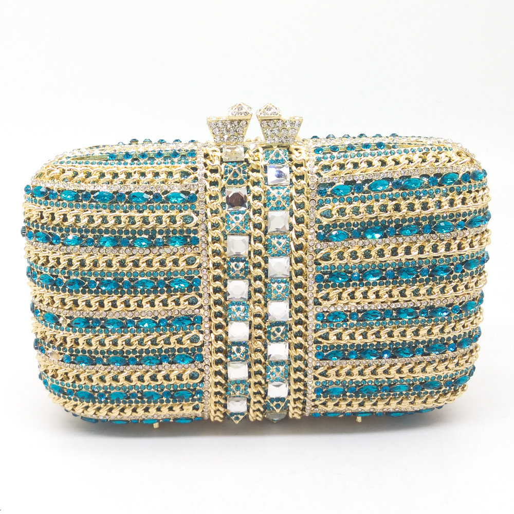 Women Gold Plated Sky Blue Crystal & Chains Patchwork Evening Wedding Prom Box Clutch Handbag Purse Metal Hardcase Clutches Bag(China (Mainland))