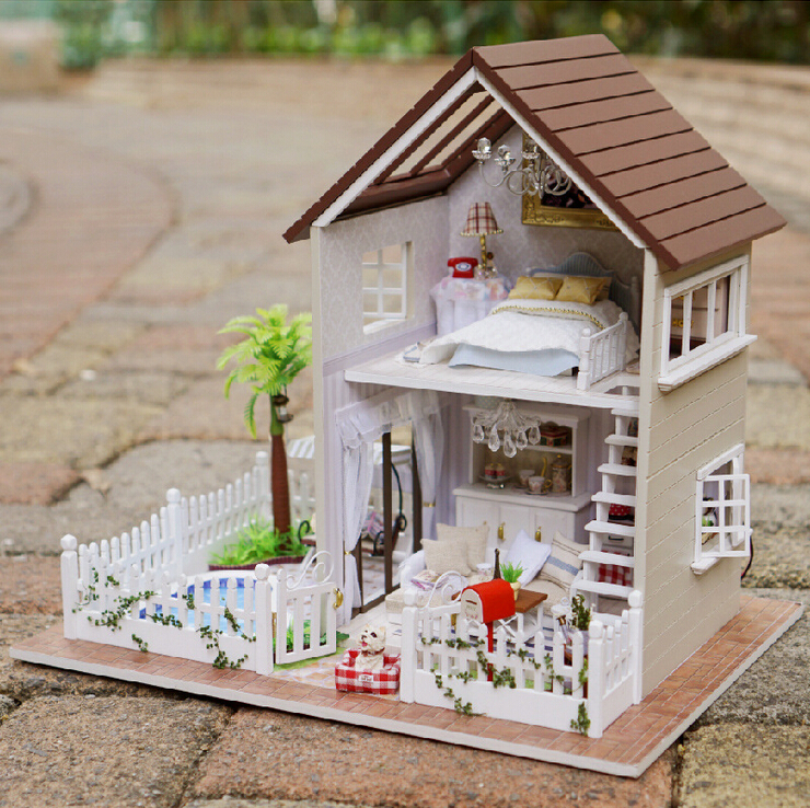 Diy 3d wooden doll house furniture wood dolls light dollhouse miniature house toy gifts houses Dollhouse wooden furniture