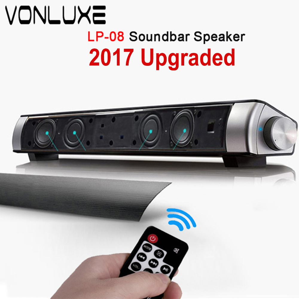 Upgraded HIFI Portable Bluetooth 10w Soundbar Remote Control Wireless Speaker Amplifier Stereo Sound Bar with Mic USB Amplifiers(China (Mainland))