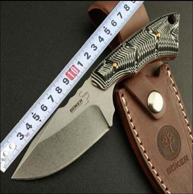 BOKER 558 Fixed Blade Knives 7CR13MOV Micarta Outdoor Camping Knife Tactical Survival Straight Knife Combat Camping Hand Tool(China (Mainland))