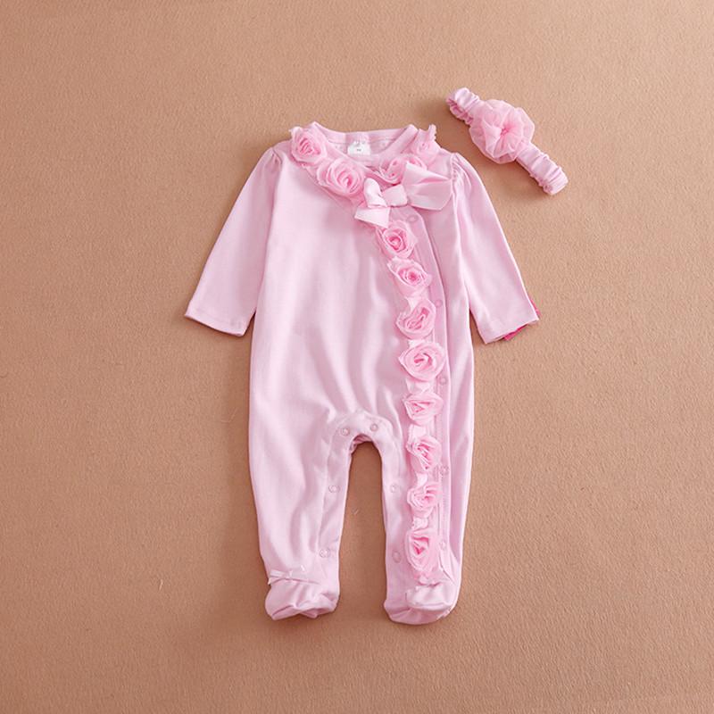 Cute Newborn Baby Girl Clothes New Style Girls Princess Bow/Flowers Romper & Headband 2PC Long Sleeve Romper Clothing Set(China (Mainland))