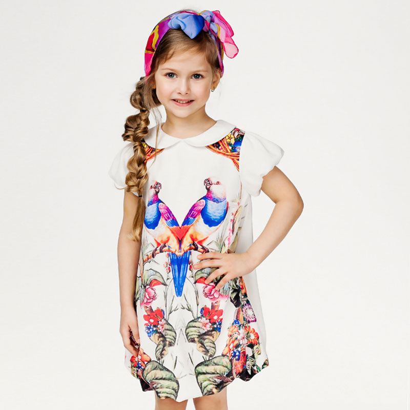 Girls Summer Dress Girls Birthday Dresses 2016 New Brand Princess Costume Animal Floral Print Kids Dresses for Girls Clothes(China (Mainland))