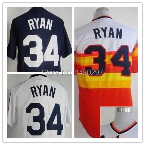 Cheap Nolan Ryan Jersey #34 Men's Houston Baseball Jerseys Authentic White/Blue/ China Embroidery logos(China (Mainland))