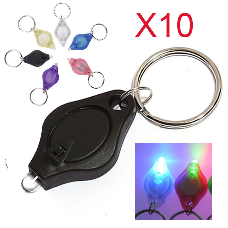 10PCS/lot New Waterproof Mini Colorful LED Flashlight Keychain Finger Light Torch Lamp(China (Mainland))