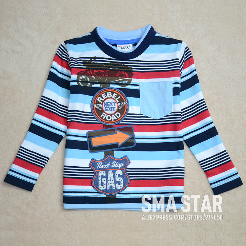 2014 New Fashion Roupas Para Meninos Boy T-shirt Car Fantasia Kids Clothing For Boy Striped 2 Colors Brand Shirts Boys SMAL85501(China (Mainland))