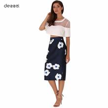 Vintage Summer Pencil Skirt Women Floral High Waist Bodycon Skirt Plus Size Fashion Casual Elegant Slim Midi Skirts Girl