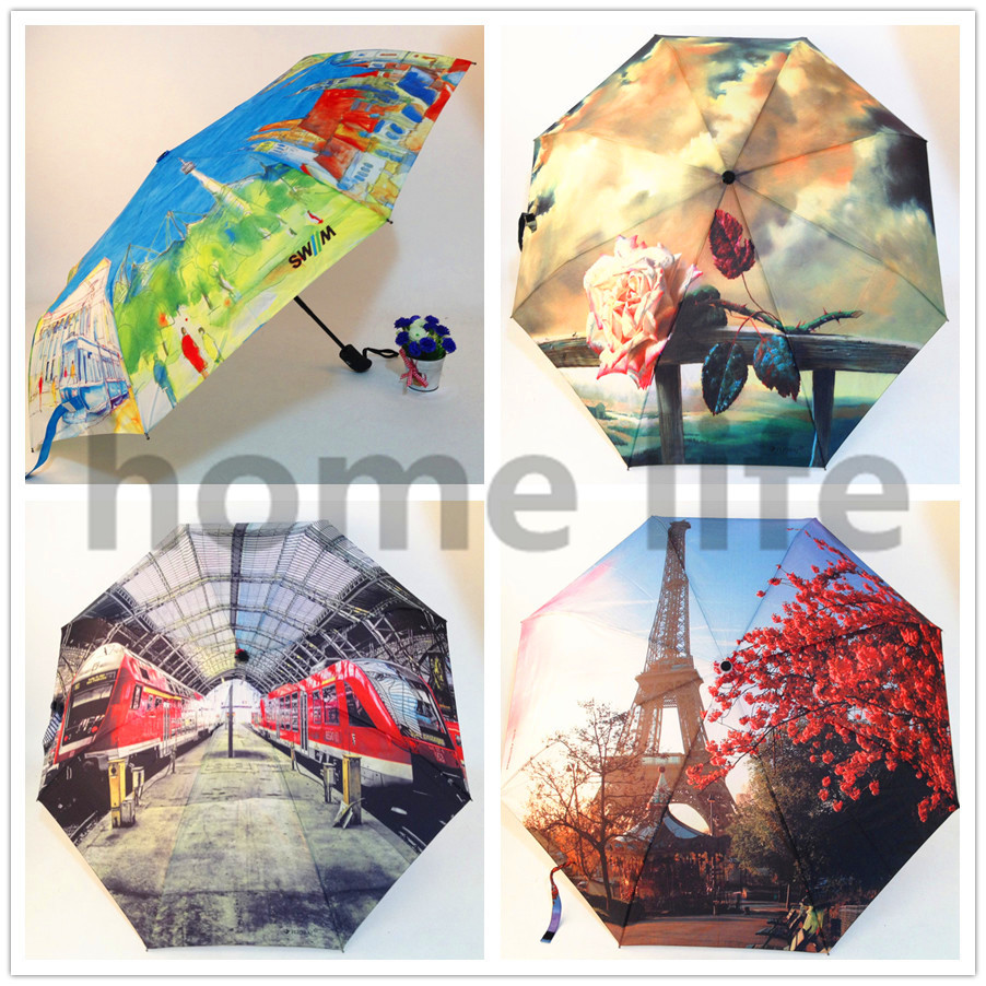 Paraguas Mujer Sombrinha High Quality Umbrella Three Elephants Rose Automatic Folding Painting Scenery