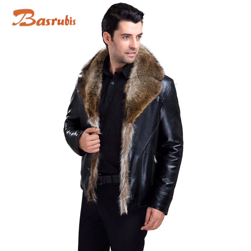 Leather Fur Jacket Mens - Jacket
