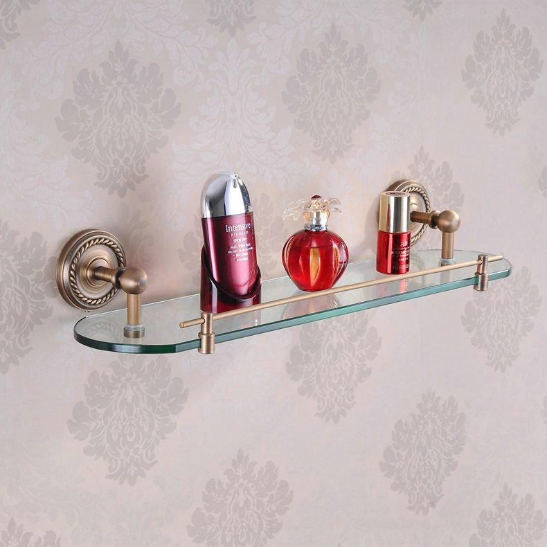 Free shipping Antique bronze brass single tier glass shelf bathroom accessories shelves for storage wall mounted HJ-1313F cubas(China (Mainland))