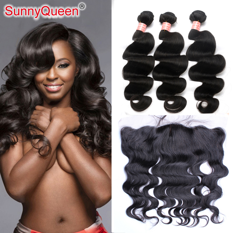 6A Brazilian Virgin Hair With Closure 4Pcs Brazilian Virgin Hair With Frontal Closure Bundles Brazilian Loose Wave With Closure