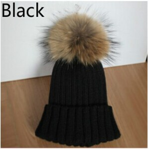 Lady Real Racoon Fur Pom Pom Wool Knit Winter Bobble hat cap Beanie Ski Women Gift Rose Red Gray white Black(China (Mainland))