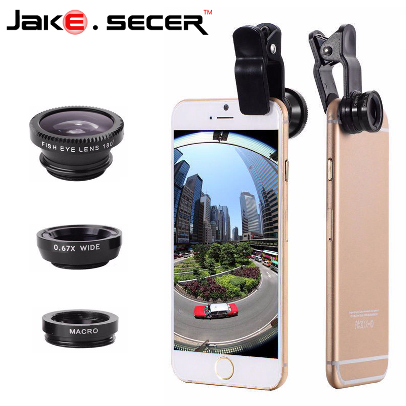 New Fish Eye Lenses + Wide Angle + Macro mobile Phone Lenses 3 in 1 Universal Smartphone Lens For Ip6S plus 5S 4S xiaomi huawei(China (Mainland))